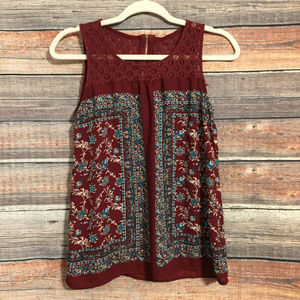 Buckle mine floral lace tank top